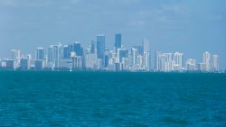 Downtown Miami at dawn a view from our boat Florida Keys, U.S.A.