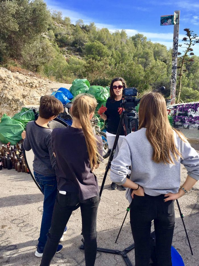 AWE crew interviewing clean-up organiser Wendy Von Fries