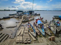 Tabatinga, border between Colombia and Brazil on the Amazon river. In the background on the othe ...